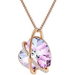 GEORGE · SMITH ❤Eco del Amor❤ Collar Corazón Cristal Púrpura para Mujer Collar Amor Oro Rosa con Cristales de Swarovski, Collar Mujer Regalos Cumpleaños para Mujer