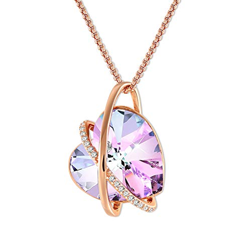 ad465919c1e6 GEORGE · SMITH ❤Eco del Amor❤ Collar Plata para Mujer Collar Corazón  Cristal Púrpura con Cristales de Swarovski, Collar Amor Oro Rosa Regalos ...