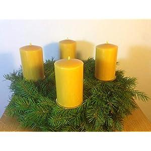 4 Stück Kerzen für den Adventskranz aus 100% Bienenwachs, 10 x 6 cm, Stumpen, handgemacht, Bienenwachskerze, gegossen…