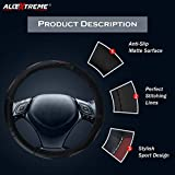 #2: AllExtreme EXBMWS1 PU Leather Wave Design Universal Anti-slip Car Auto Steering Wheel Cover (36cm, Black)