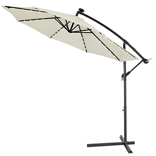 Kingsleeve Sonnenschirm Ampelschirm Gartenschirm Kurbel Terrassenschirm I Solar I Alu I LED Beleuchtung I Ø330cm I Creme