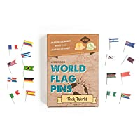 Miss Wood Map Pins with World Flags, Brown, One Size