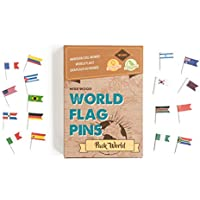 Miss Wood Punaises pour Carte avec Drapeaux du Monde, Marron, Taille Unique