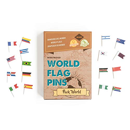 Miss Wood World Pack-Banderas Mundo. Chinchetas Mapa