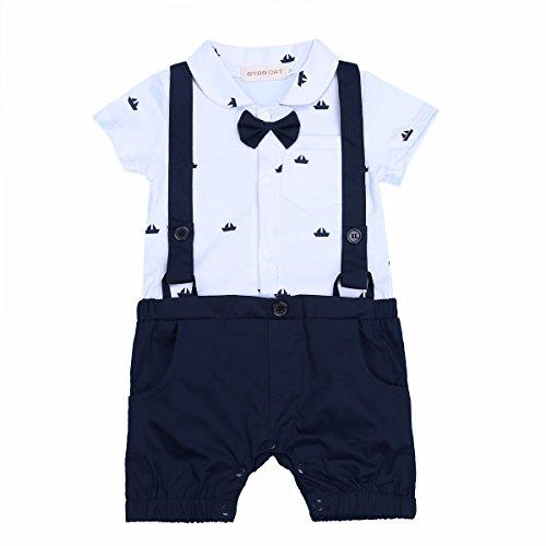 YiZYiF 1 tlg baby Strampler Smoking für Jungen Kleinkind Kleidung rompers Kurz Jumpsuit Spielanzug Outfit mit Fliege, Marineblau&weiß, 6-9 Monate
