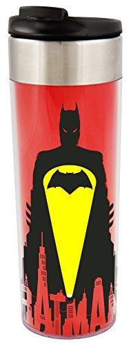 "Batman vs. Superman Batman - Bat Signal\"", Edelstahl, ca. 400 ml - 0122165 Coffee to Go Tasse, rot, 8 x 8 x 22 cm"