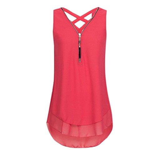 VEMOW Heißer Sommer Damen Mädchen Frauen Tägliche Beiläufige Art Und Weise Lose Sleeveless Trägershirt Kreuz Zurück Saum Layed Zipper V-Ausschnitt T-Shirts Tops Pullover(Rot, EU-38/CN-S)
