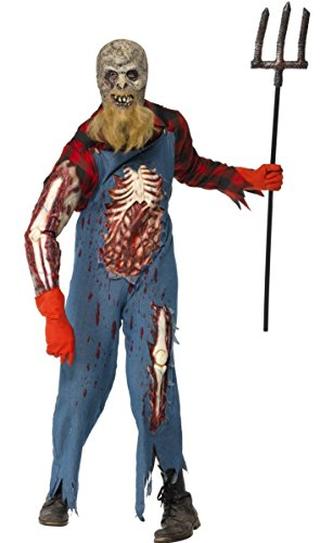 Mens Zombie Hillbilly Farmer Scarecrow Halloween Fancy Dress Costume Outfit M-L (Medium) (Hillbilly Halloween Zombie)