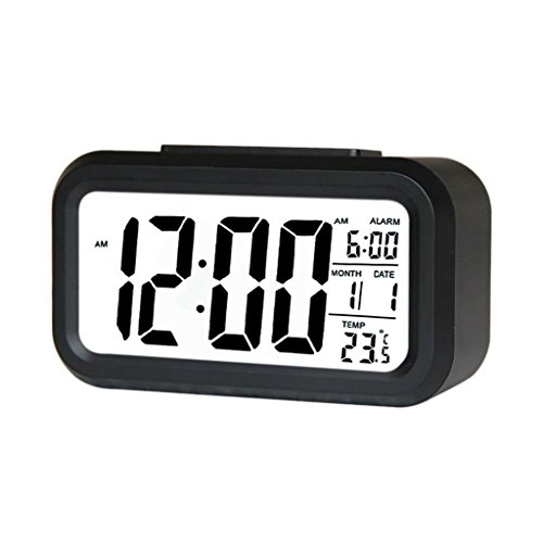 Saysha Lcd Screen Digital Alarm Clock With Date & Temperature Display & Backlight - Black