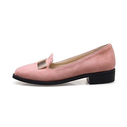 Voguezone009 Femme En Plastique Pur Talon Bas Quedrata Pull Ballerines-rose