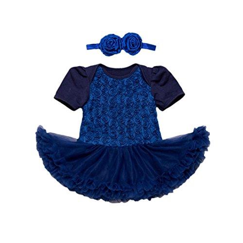 URSING Kleinkind Kinder Mädchen Rose Kurzarm Blasenkleid Party Kleid Prinzessinenkleid Tutu Kleid + Super süße Stirnband blumenhaarband Märchen Kostüm Outfit 2 Sets (24M, Blau)