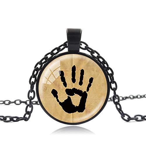 Skyrim Kostüm Zu - Vintage Handgemachte Schmuck Skyrim Dunkle Bruderschaft Geheimnisvolle Note In Einem Glas Cabochon Dome Anhänger Halskette Männer Frauen
