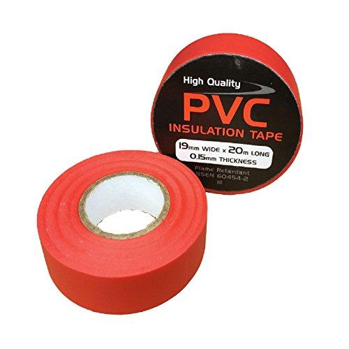 3 x Rosso Elettrico PVC Isolamento Nastro 19mm x 20 Metri, Ritardante di Fiamma - 3 Metri Nastro Isolante Elettrico
