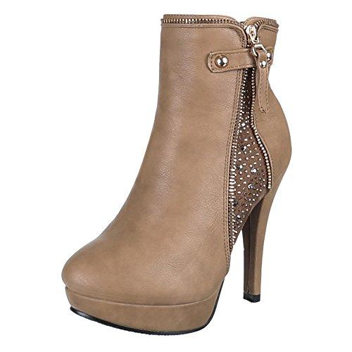 Damen Schuhe Braun Zh616 Boots Ankle Beige wRHAwPqUrn