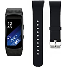 BlueBeach® Ajustable Samsung Gear Fit II R360 Reemplazo Correa de Reloj Banda de Silicona Pulsera (Negro)