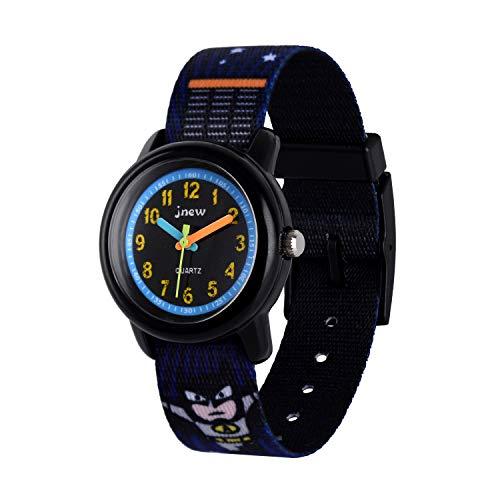 Neihou Kinder und Jugendliche Uhr Analog Quarz mit Nylon Slip-Thru Armband Schwarz WB06802 MEHRWEG -