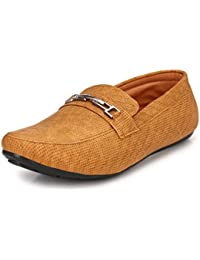 Knoos Men's Synthetic Leather Tan Loafers (DJ01-TAN)