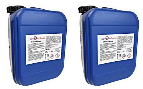 well2wellness Chlorbleichlauge stabilisiert/Chlor flüssig Natriumhypochlorit - 2 x 5,0 ltr. (2 x 6 kg)