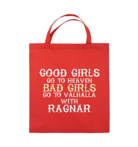 Comedy Bags - Good girls go to heaven bad girls go to valhalla - Jutebeutel - kurze Henkel - 38x42cm - Farbe: Hellblau / Weiss-Royalblau Rot / Weiss-Beige