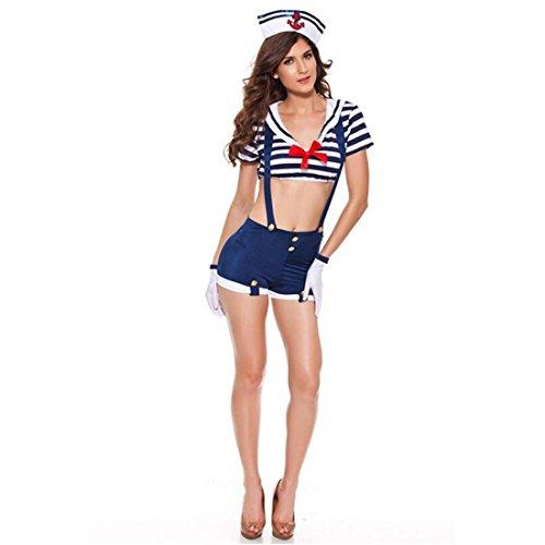 LIUZHI Seefahrer Karriere Kostüme Cosplay Kostüme Party Kostüme Frau Halloween Karneval Fest/Feiertage Halloween Kostüme Weiß + blau Gestreift , white+blue , All (Haar Kostüm Matrose)