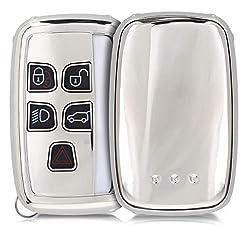kwmobile Autoschlüssel Hülle für Land Rover Jaguar - TPU Schutzhülle Schlüsselhülle Cover für Land Rover Jaguar 5-Tasten Funk Autoschlüssel Hochglanz Silber