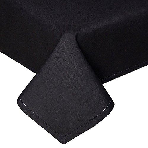 Homescapes Tischdecke schwarz unifarben 140 x 230 cm aus 100% reiner Baumwolle, Tischtuch waschbar