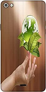 Snoogg Female Hand Holding Green Earth With A Growing Plant Designer Protective Back Case Cover For Micromax Canvas Silver 5 Q450