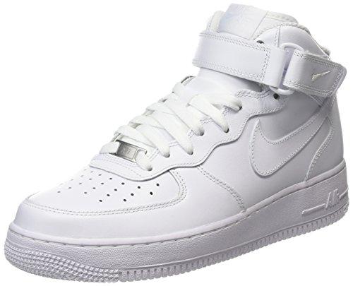 Nike Air Force 1 Mid 07 Leather, Scarpe da Ginnastica Alte Donna, Bianco (White), 36 EU