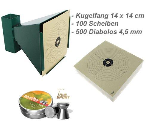 Kugelfang Trichter 14x14 + 100 Zielscheiben + 500 Diabolos von 4komma5®