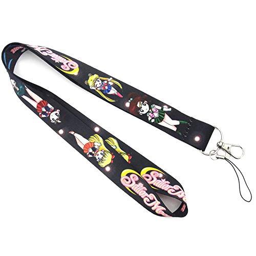 ALTcompluser Anime Sailor Moon Schlüsselband/Schlüsselanhänger/Umhängeband, Druck in Vollfarbe, Lanyard für Schlüssel, Handy, MP3, USB(Schwarz) Mp3 Crystal
