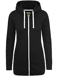 DESIRES Derby Long Damen Sweatjacke Kapuzen-Jacke Zip-Hoodie aus hochwertiger Baumwollmischung