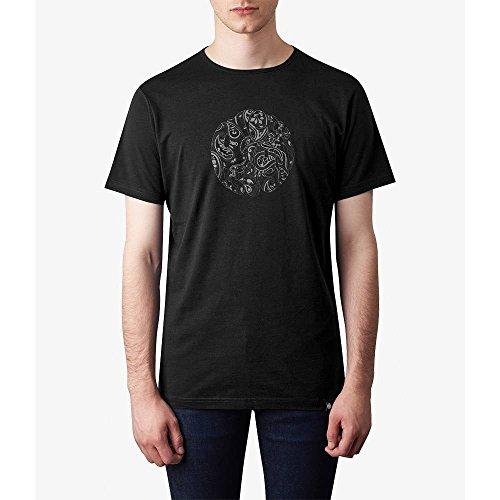 Pretty Green Herren Mens Paisley Print Logo T-Shirt, Schwarz, Einheitsgröße Schwarz