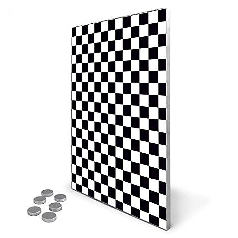 Edelstahl Magnettafel 35x50 cm inkl. 6 Magneten, Design Magnetwand für Küche und Büro, banjado Memoboard, beschreibbare Pinnwand mit Motiv Karo Schwarz