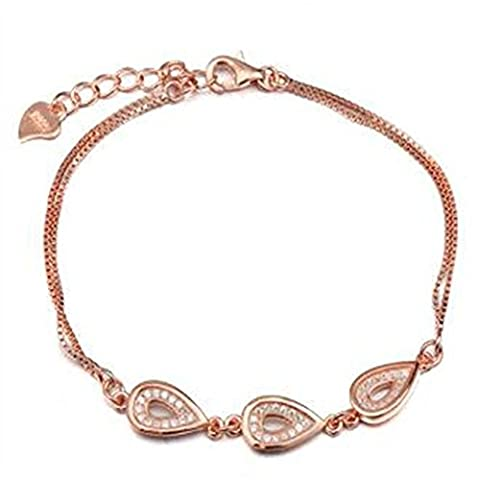 XG S925 silberne Schmucksachen einfach zu tragen Tropfen Tropfen weibliche Art und Weise rosafarbenes Gold justierbares Überzug anti-allergisches Armband