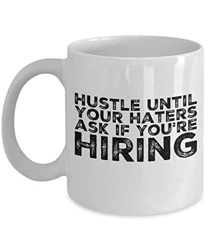 Dozili Hustler Kaffeetasse Hustling Geschenk für Verkäufer Unternehmer Startup American Made Cup 312 ml weiß