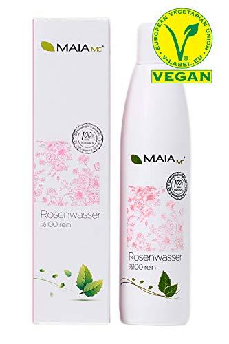 Bio Rosenwasser 100{bd69058f35f45c581351f6b093ff2663172917830cb810a4a7ca03e9f7ba7297} von MAIA MC - VEGAN - Reinigungswasser Gesichtswasser 250 ml - MIT Vitamin C - OHNE Zusatzstoffe - Naturkosmetik - gegen Mitesser- unreine Haut - Poren verkleinern