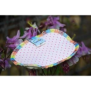 Spülschwamm aus Bio-Baumwolle, 2 Stück, Spüllappen, reinigen, umweltfreundlich, ökologisch, spülen, abwaschen, Haushalt, Spültuch, ca. 9 x 13 cm, rosa Punkte pink, waschbar, Zero Waste