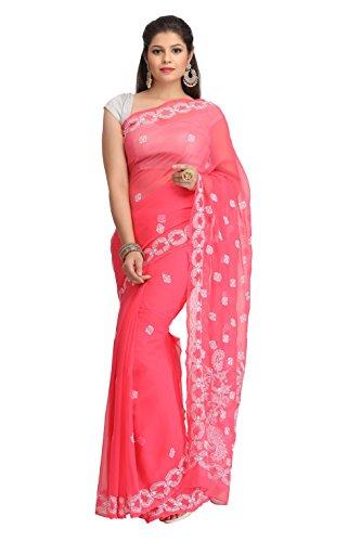 ADA Hand Embroidered Lucknow Chikankari Ethnic Wear Saree Dress Pink Georgette A130146