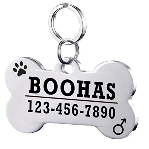 PENVEAT Personalized Dog ID Tags Stainless Steel Pet ID Tags for Cats and Dogs Collar Accessories Dog Tag Engraved Tel Sex Name Tag,Bone Sliver,S Bone China-mint