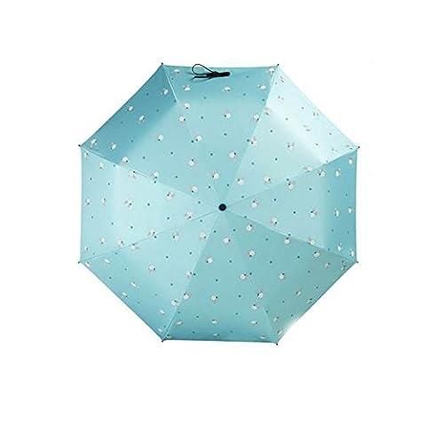 Compact Travel Foldable Umbrella résistant au vent léger avec anti-UV / glissière, lapin, Bleu Clair