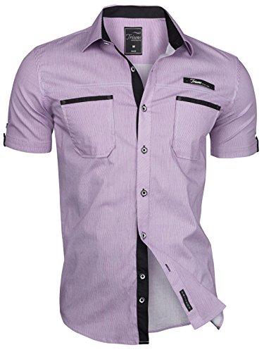 Trisens Herren Hemd Kurzarm Gestreift Slim Fit Sommer Baumwolle Polo Style Cotton, Größe:L, Farbe:Violett