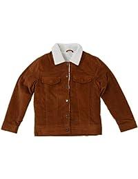 TOOGOO(R) Women's Vintage Casual Lambswool Jacket Coat Winter Warm Long Sleeve Corduroy Jacket Autumn Hairy Collar Female Overcoat(Brown,S/US-4~6)