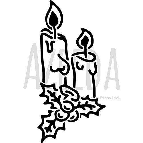 Azeeda A4 'Weihnachtskerzen' Wandschablone / Vorlage (WS00030911)