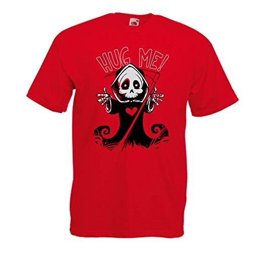 Männer T-Shirt Der Tod kommt! Halloween Skelett Kleidung, böse Schädel Sichel (Large Rot (Skull Tod Der Maske)