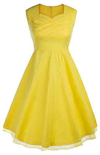 Bestfort Damen 50er Retro Kleid Ohne Arm Taille Cocktailkleid Swing Kleid Reine Baumwolle Schlank Rock Rundhals Lace Partykleid Sommer Dress -