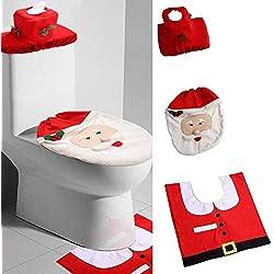 Uten Weihnachten Toilettensitzbezug Weihnachtsdeko WC-Sitze Set mit Sitzbezug & Teppich & Gewebe Deckel für Badezimmer im Weihnachtsmann-Design