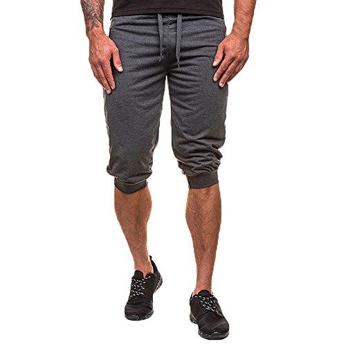 8673890acf7e BURFLY Herren Einfarbig Sport Shorts, Sommer Männer Fitness Workout  Jogginghose Hosen Fit Elastische Lässige Sportbekleidung (XL, Deep Grey)