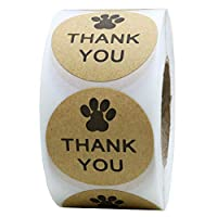 "Kraft Paw Print Thank You Stickers Dog Paw Print 1.5"" Round Thank You Labels"