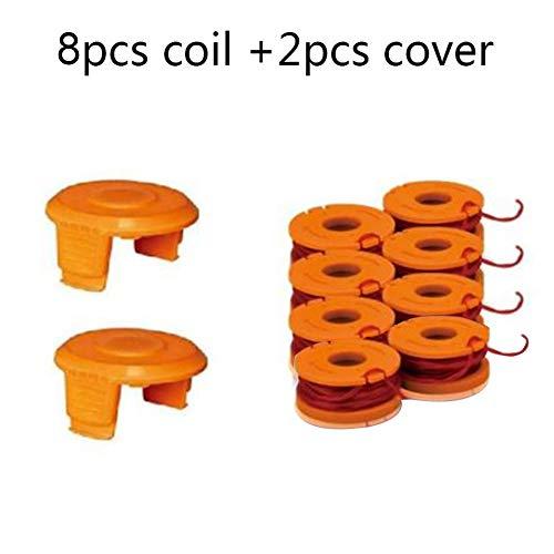 Für Worx WA0010 Spool Line Ersatz mit Spool Cap Cover & Coil, Gartengrasschneider Line Tools für WG150, WG151, WG152, WG155, WG165(8 Abdeckung+2 Spule) (Home Worx)