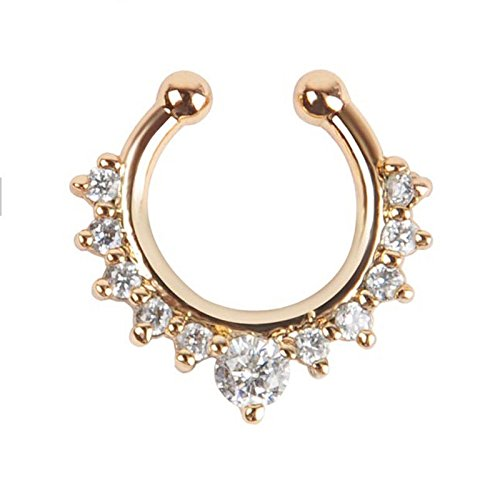 2016 New Fashion Alloy Nose Hoop Fake Nose Rings Body Piercing Jewelry Fake Septum Clicker Non Piercing Hanger Clip On Jewelry By Jewelqueen